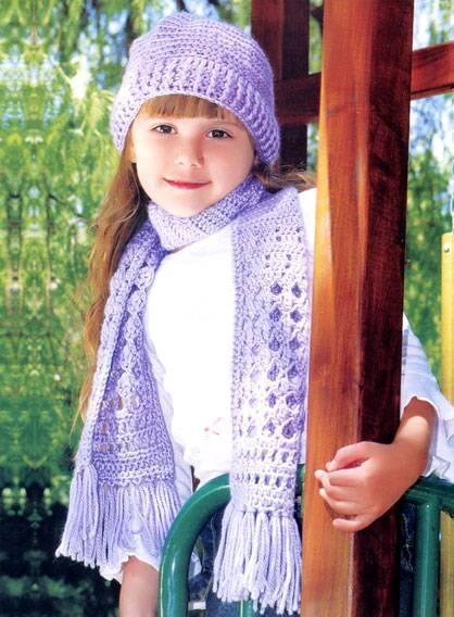 Войти. Регистрация. Вязаная шапка и шарф крючком для девочки. Теплый комплект как раз для осени